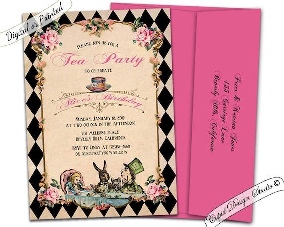 alice in wonderland mad hatter tea party printable invitations