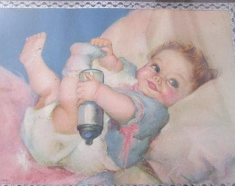 Old Vintage frame with litho baby / Old Vintage litho Frame with Baby