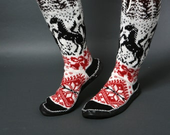slippers women black white red chaussons wool horse forest leather handmade eco friendly sock footwear scandinavian