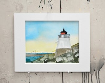 "Lighthouse Watercolor One of a Kind Matted Original 14x11""  100% of the profits go directly to artists with disabilities Item 56 Dominic P."