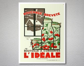 Bouteille a Conserves l'Ideale  Food&Drink Poster, 1933 - Poster Paper, Sticker or Canvas Print / Christmas Gift
