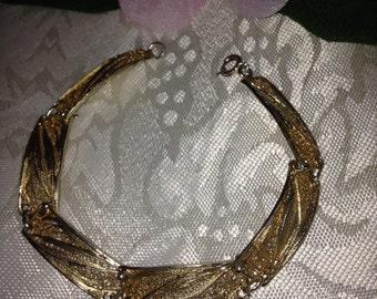 Vintage Topazio Sterling Silver Vermeil Gold Filigree Link Bracelet -Portugal Hallmarked