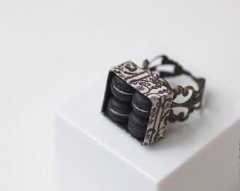 Black Macarons Ring - Food Jewelry - Macaron Jewelry