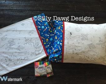 Handmade Color Me Pillowcase - Space Theme, Ready to Ship!
