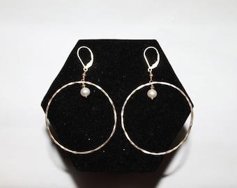 HUGE DISCOUNT 35% OFF 1970s Hammered Sterling Silver Pearl Drop Hoop Earrings