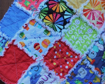 SALE: Vibrant, fun primary colors quilt in red, white, blue, orange, yellow prints, gender neutral