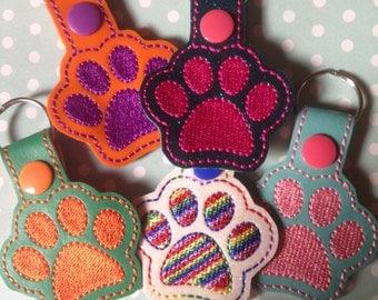 Dog or cat lovers gift, Dog cat paw keyring, key fob