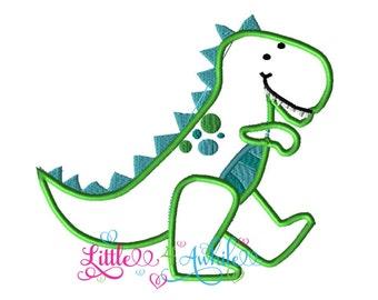 Dinosaur Applique Embroidery Design Instant download 5 sizes