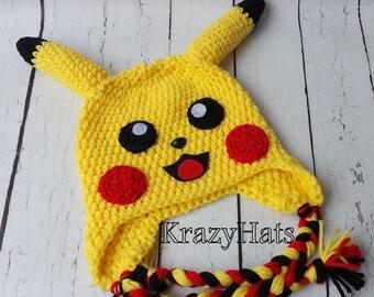 Crochet yellow lighting hat.