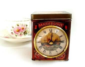 SALE Vintage English Tea Tin Desk Clock,Tea Time Electric Clock, Tea Tin ,English Tea Tin ,Kitchen Desk Clock