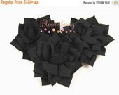 "Halloween SALE 12% OFF 2.5"" Kanzashi Flowers - Black Color - Black Kanzashi Flowers - Black Flowers -Japanese Kanzashi Flowers -Hair Accesso"