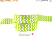 "ON SALE 5% OFF 5/8"" Printed Fold Over Elastic - Lime with Silver Chevron- Printed Elastic - Silver Foil Chevron Elastic -Hair Accessories Su"