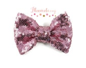 "4"" Sequin Fancy Bow - Rose Pink Color - No Clip Attach- Embellishment Bow - Large Sequin Bow- Hair Accessories Supplies"