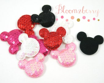 """1.5""""  Sequin Micky Mouse Padded/Appliques - Assorted Color- Micky Mouse Appliques - Mickey Padded-DIY Hair Accessories Supplies"""