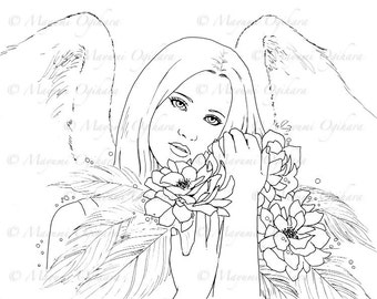 Heavenly Dream - digital stamp, colouring page, printable, instant download