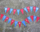 Choo-Choo Train Happy Birthday Banner for kids - Customize - Train Engine Party Banner (Sign, bunting, flags)