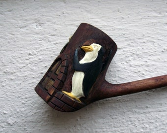 Unique Handmade Smoking Pipe carved with the Penguins from Madagascar, Rico and Skipper in fighting possition