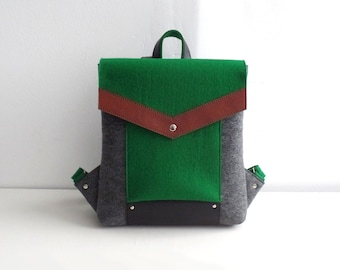 Green Gray Black Brown Felt Leather Backpack