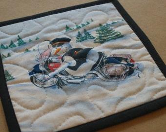 Motorcycle Snowman Mug Rug, Snack Mat, Fabric Coaster, Pot Holder, Trivet, Secret Santa, Policeman, Biker, Harley, Fat Boy, Hostess Gift