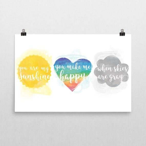 You Are My Sunshine Poster Print - Nursery, Kids Room, Wall Art Modern