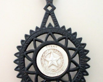 Texas Lone Star State Cast Iron Hot Plate Trivet Coaster