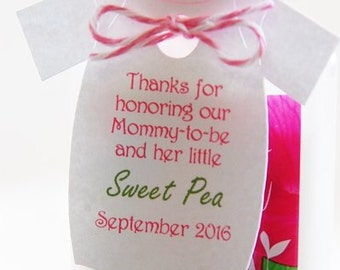 "Thanks for honoring our Mommy-to-be and her little sweet pea Gift Tags ~ Baby Onesie Tags ~ Baby Shower Tags ~10 tags~ 2.5"" ~ White"