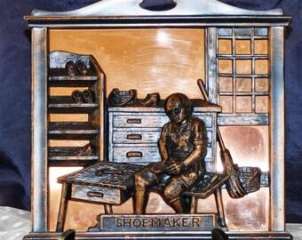 "Copper Craft Guild 3D Copper ""Shoemaker"" Wall Hanging/Plaque"