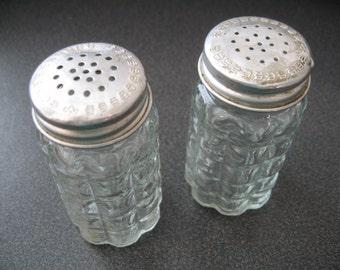 Vintage Raised Block Design Glass Salt and Pepper Shakers