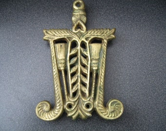 Vintage Small Brass Footed Hot Plate/Trivet With Scroll Design