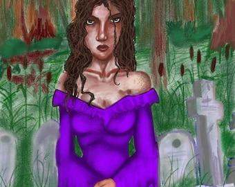 Girl in Graveyard - Printed when ordered