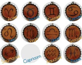 Western Zodiac Adjustable Recycled Bottlecap Necklaces