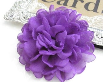 Purple  Fabric Flower / Hair Flower NO CLIPS  / Rose Fabric Flower / Chiffon Flower  FLW-06