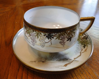 Asian Teacup and Saucer, Oriental Flowering Tree on Water, White & Purple Blossom Flower Tree, Gold Trim