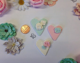 Clay Flatback rainbow pastel hearts with roses x embellishments deco topper