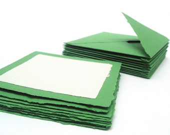Green and white square card and envelope set, handmade recycled paper, 5x5, set of 10