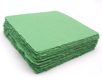 Green 5x5 handmade papers, recycled, deckle edge, 10 sheets