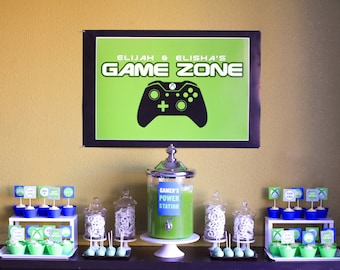 Video Game Party Backdrop for Dessert Table or Candy Buffet- JPEG File - Email Delivery Only - You Print Your Own