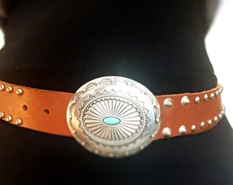 Leather Studded Belt with Buckle