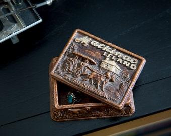 Mackinac Island Souvenir Box Pressed Wood Vintage 1960s Travel