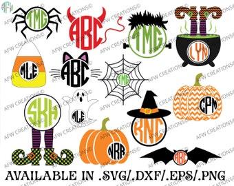 Digital Cut Files, Halloween Monograms, SVG, DXF, EPS, Pumpkin, Witch, Spider, Frankenstein, Bat, Cat, Candy Corn, Vinyl, Silhouette, Cricut