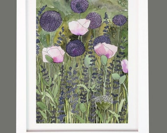 Alliums and Pink Poppies Garden Floral Print A3/A4