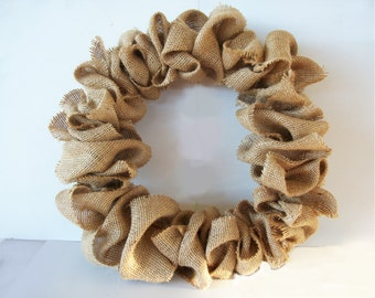 Handmade Burlap Wreath Natural Tan Jute Burlap Plain Year Round Wreath Rustic Wreath