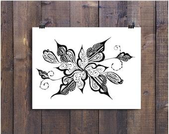 Black and White Art Pen and Ink Flower Design Illustration Signed 5 x 7  Print Home Decor Design Drawing