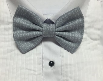 Gray and white Binary Code Programmer Print Bowtie / Bow Tie