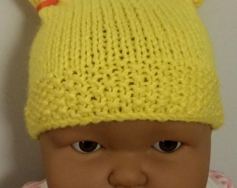 Baby Hat Hand Knit 0-3mths