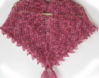 Crochet shawl. Mohair and silk shawl crochet shawl with tassels. Gossamer light.Unique. Handmade. Shawlette.