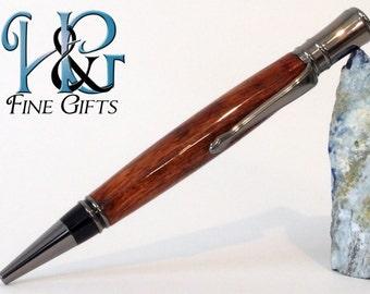 Wood Pen rich bubinga wood and smoky gun metal setting, graduation gift pen in beautiful wood, wooden pen for professionals