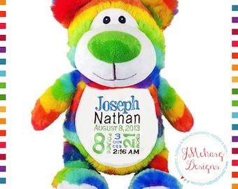 Custom Rainbow Cubby Bear - Stuffed Cubby - Monogrammed Baby Gift - Rainbow Baby