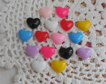 "16 Resin Hearts Multicolor 5/8"" (16mm)"