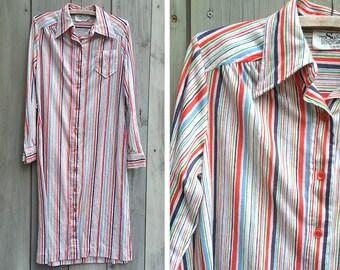 Vintage dress   Colorful striped Susan Thomas shirt dress
